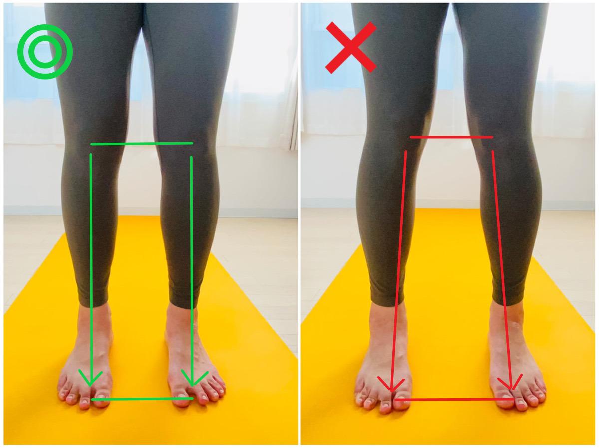 下向きの犬のポーズの正しい足と膝の向き